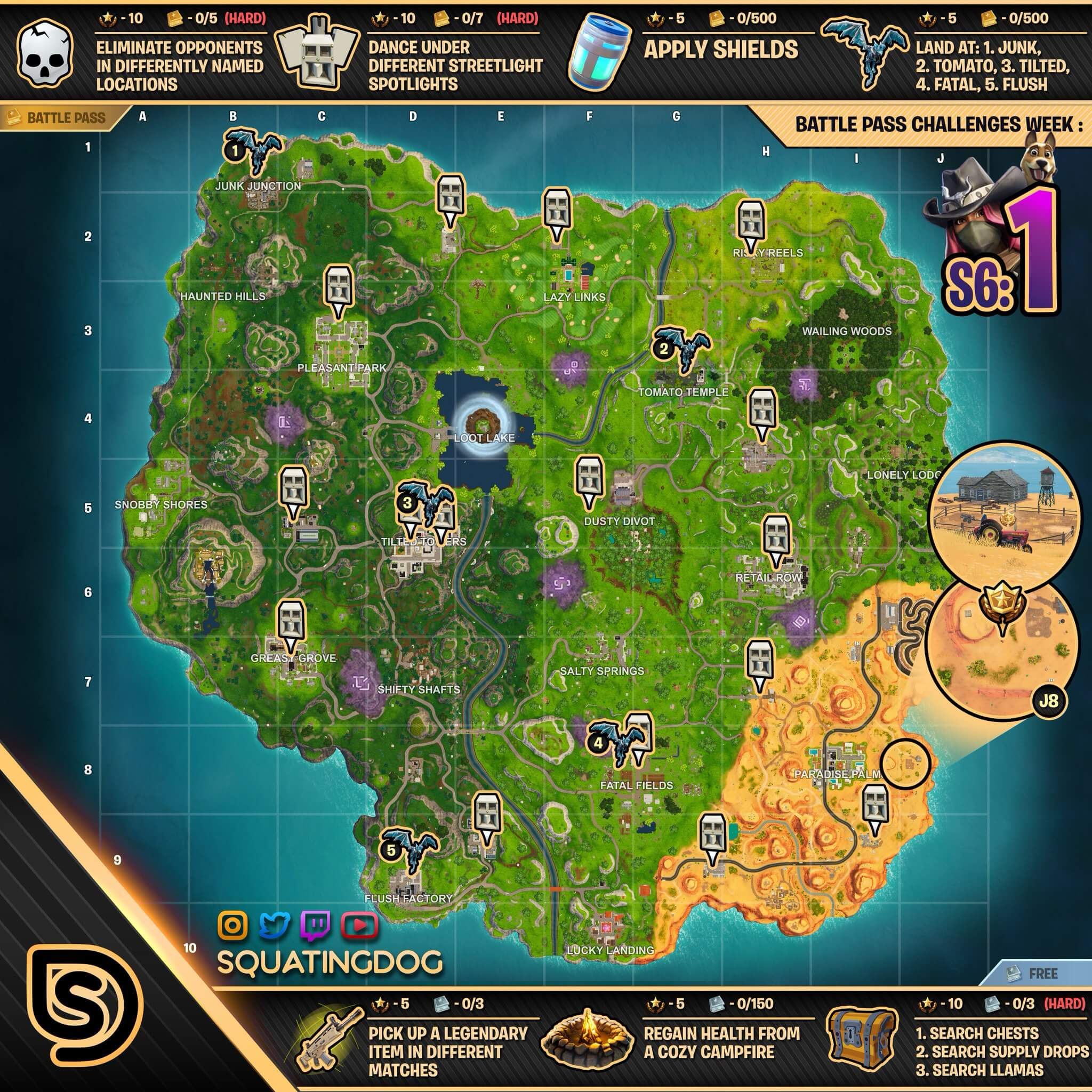 fortnite season 6 week 1 challenges - fortnite week 8 challenges season 6 cheat sheet