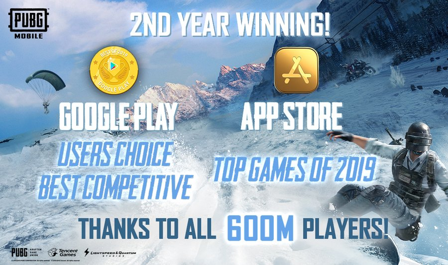 PUBG Mobile won the Best Competitive Game for Google Play Users' Choice Award