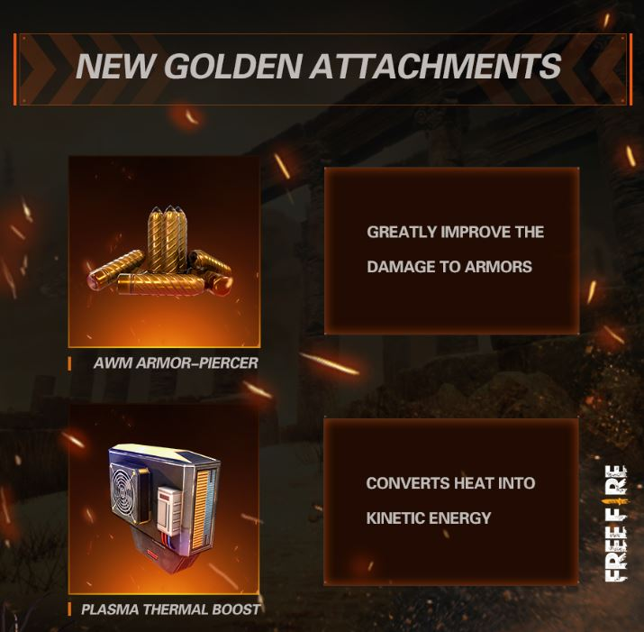 free fire advanced attachments, free fire update