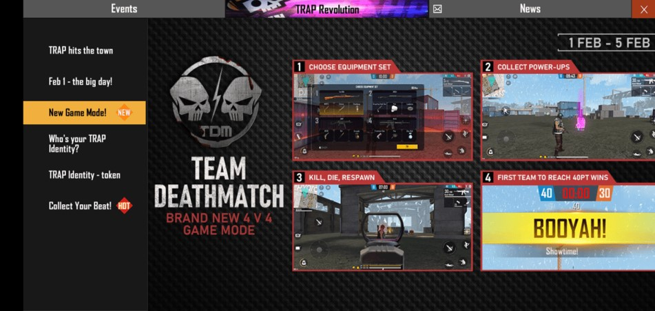 free fire team death match mode