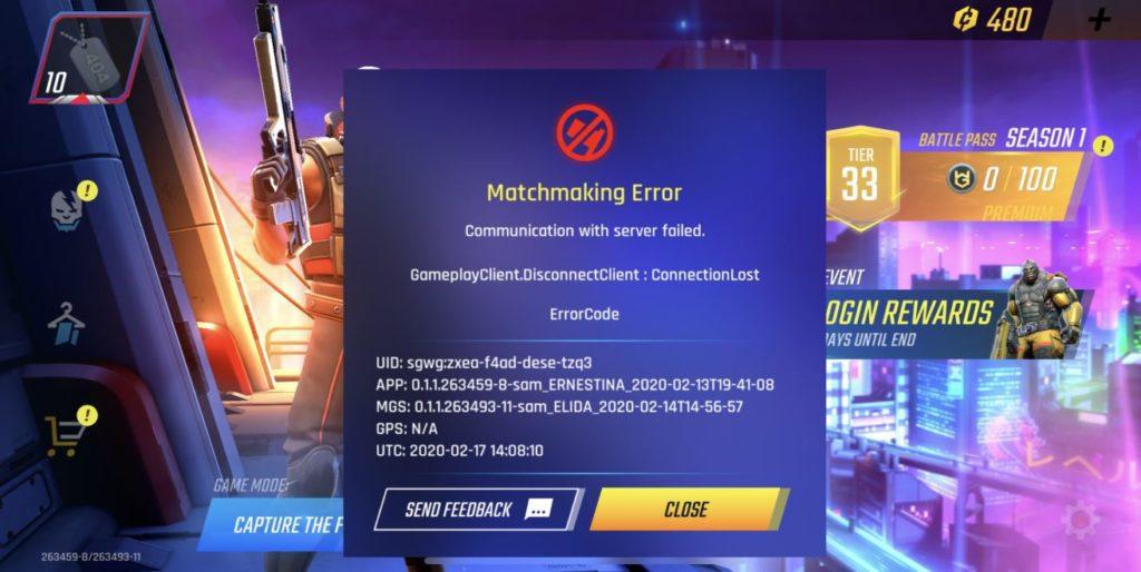 shadowgun war games connection error