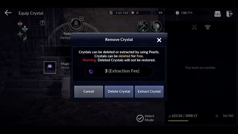 Black Desert Mobile extracting a Crystal fee