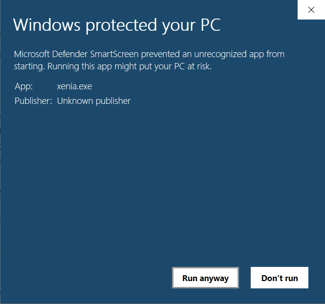 Bypass Windows protection to launch Xenia