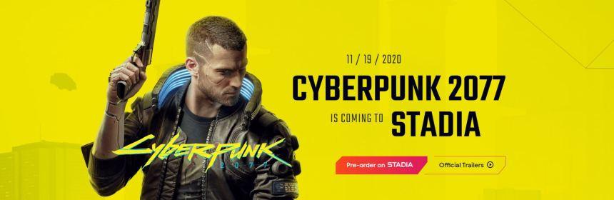stadia cyberpunk 2077 title screen logo
