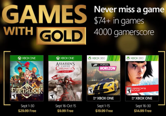 Games with Gold September Mirror's Edge, Forza Horizon und Assassin's Creed Chronicles