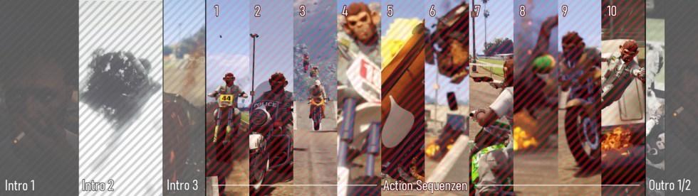 Die 10 Action-Sequenzen, die den Hauptteil des GTA Ben Hur Showreels ausmachen.