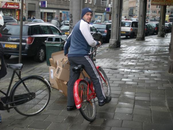 En bici , en Amsterdam .