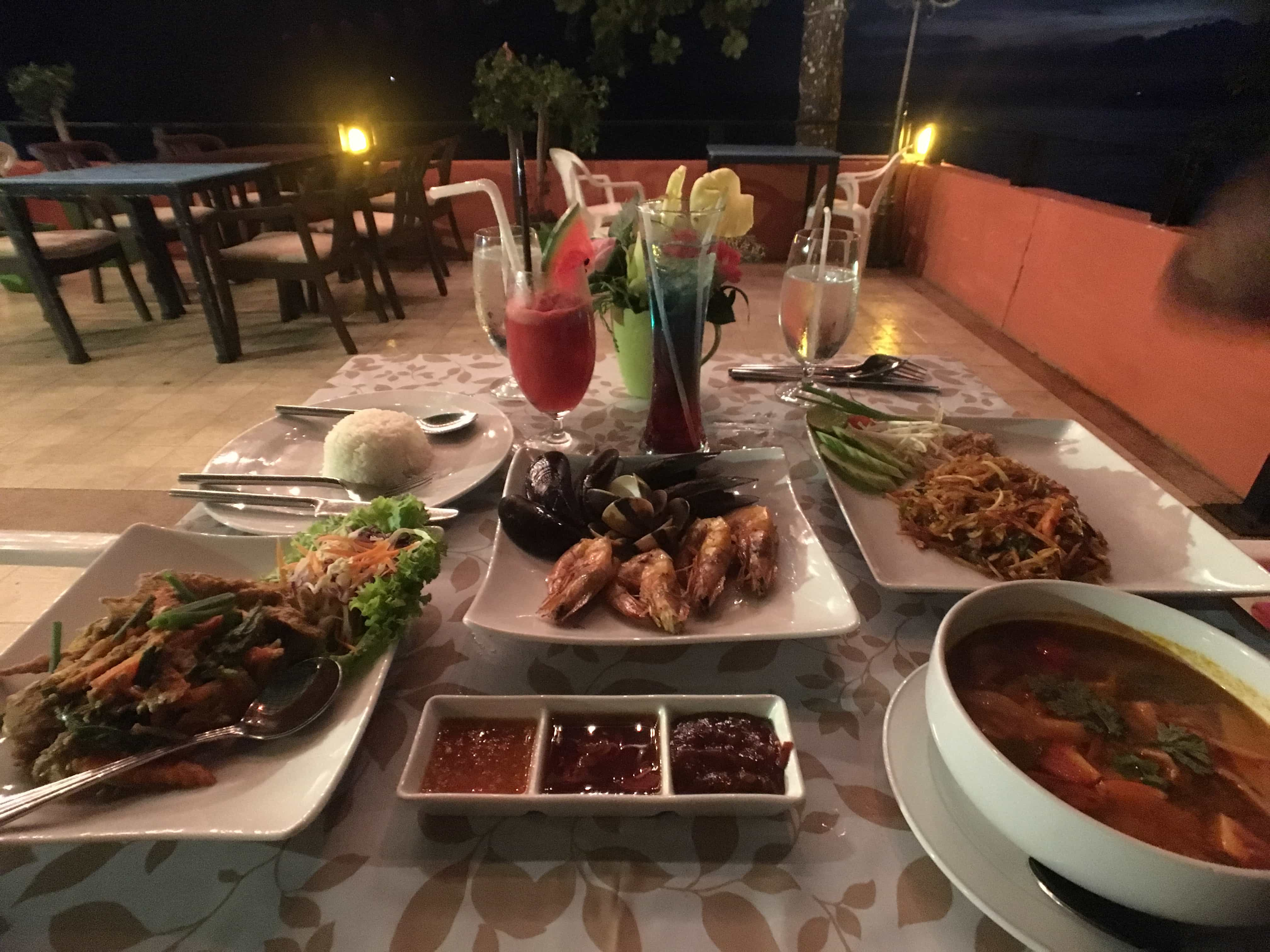 Seafood and Thai food for a luxury vacation in Thailand.