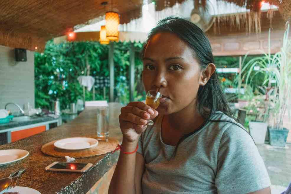 Rachel tasting rum at Georges Rhumerie.
