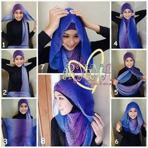 model-hijab-pashmina-polkadot-ungu