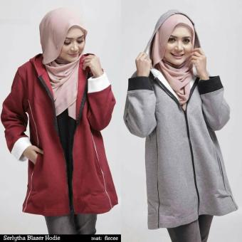 contoh bahan fleece pada busana muslimah