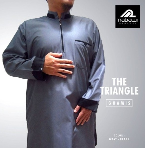 Baju Gamis Pakistan THE TRIANGLE Tangan Panjang Abu
