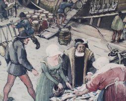 Skolplansch | Bild från Stockholms hamn på Gustav Vasas tid