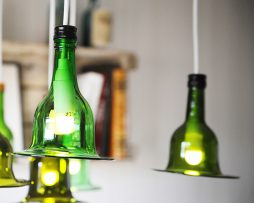 Lampa av vinflaska | Ljusare grön