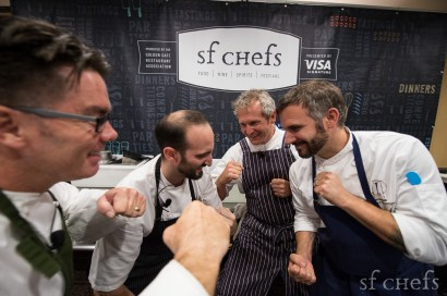 Chefs Mark Sullivan - (Spruce), Omri Aflalo - (Bourbon Steak), Mark Dommen (One Market), and David Bazirgan (Fifth Floor) square up before The Eater Chef Challenge on Sunday