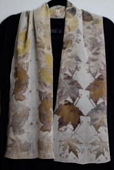 Oak and maple on crepe de chine silk