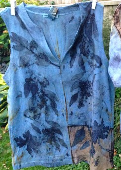 Indigo dyed cotton with eco printed Eucalyptus & other leaves