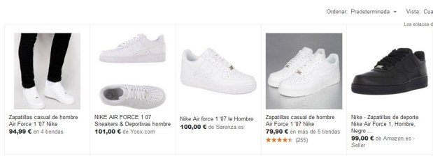 Captura de pantalla de Google Shopping de zapatillas Nike Air Force para hombre