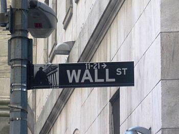 English: Wall Street sign on Wall Street