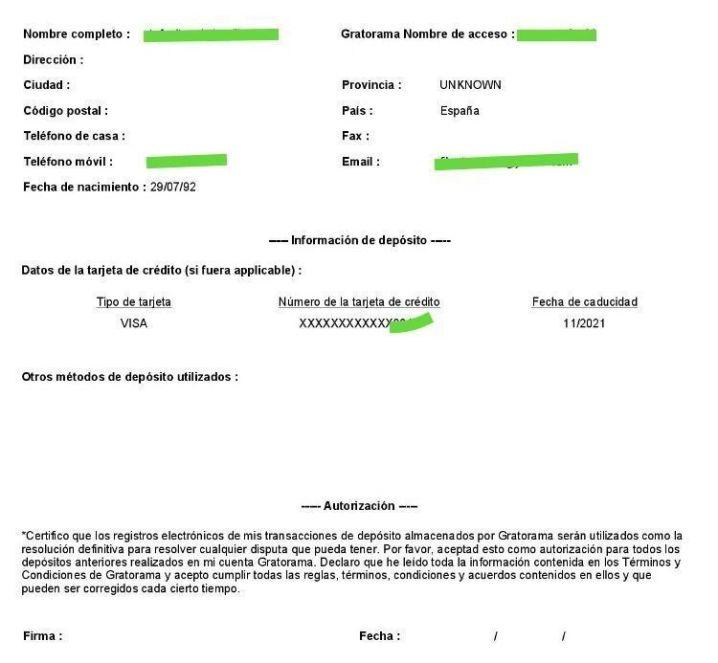 Autorización complentaria retiros Gratorama