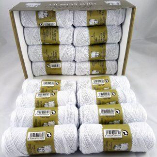 Caja 16 zepelines N5 blanco punto azul de algodón 100% egipcio