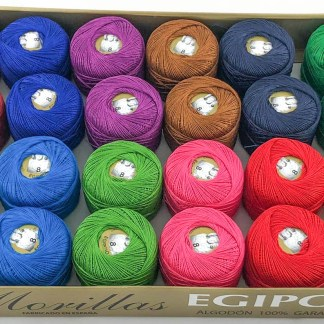 Caja 24 ovillos colores oscuros de algodón 100% egipcio
