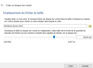 Taille du disque virtuel