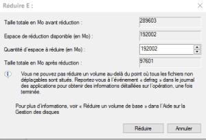 partition windows 10 - Taille du disque