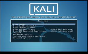 Kali Linux démarrage système