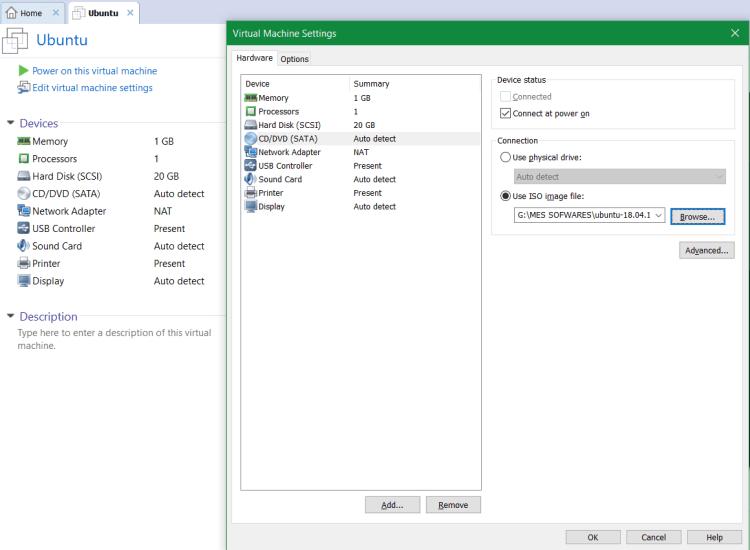 Choisir lISO dans ma mahcine Use ISO image 1024x751 - Logiciels Libres : Linux, pourquoi choisir Ubuntu et comment installer la version 18.04 sous Workstation