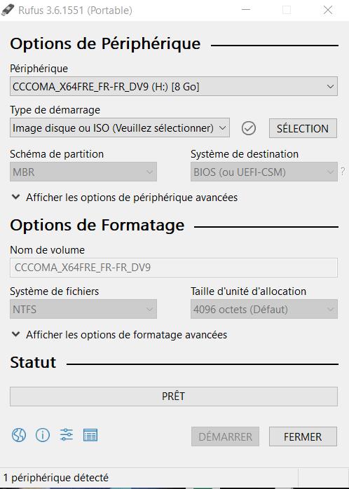 Demarrage du logiciel rufus - Windows 10 : comment booter votre clé USB en mode UEFI ?