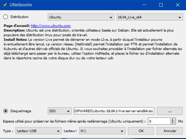 Copie des fichiers ubuntu dans Unetbootin