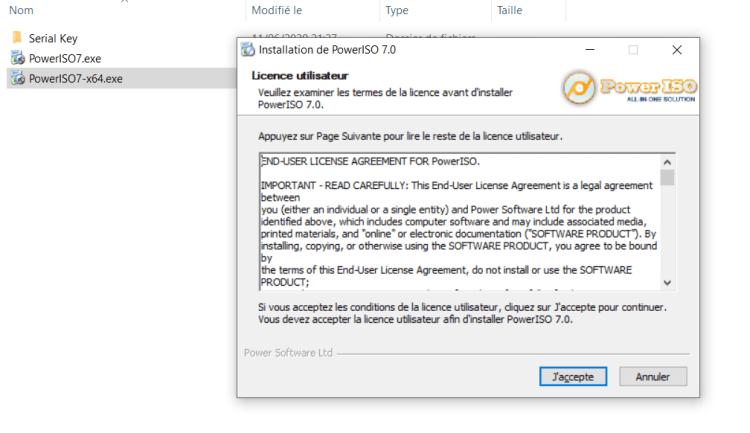 Cliquez pour installer PowerISO Windows 10