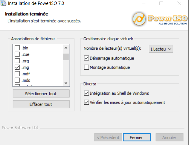 Cochez img, iso, rar... PowerISO Windows 10