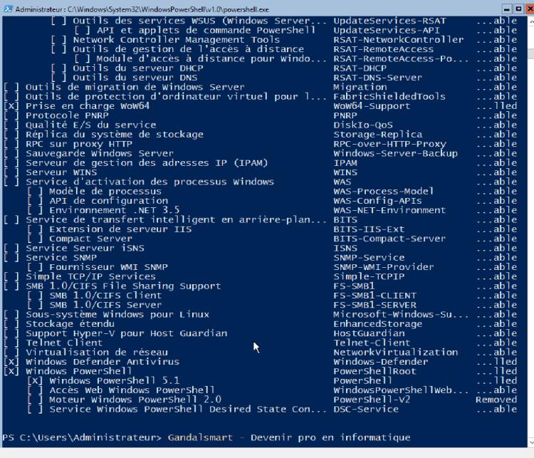 get-windowsfeature avec le gestionnaire de server