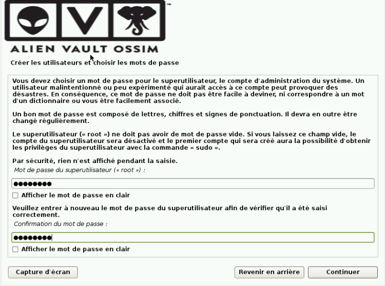 Configurer mot de passe de la VM ossim