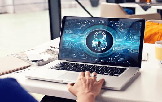 Sécurité des accès à un ordinateur portable informatique