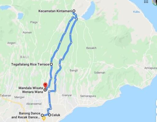 rute wisata di Bali Timur