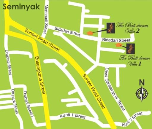 peta lokasi bali dream villas