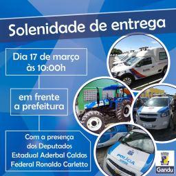 Veículos doados pelo governo do estado a Gandu, serão entregues nesta sexta.