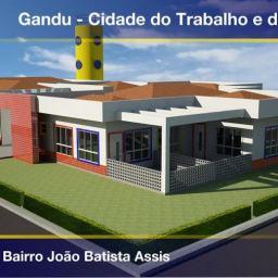 Prefeitura de Gandu reinicia obras de construção de creche do Bairro João Assis.