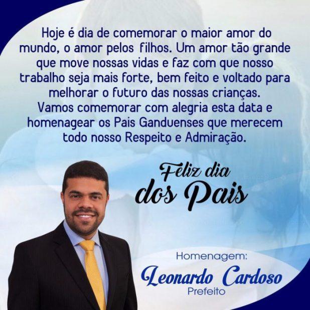 Mensagem do Prefeito Leonardo Cardoso em homenagem ao Dia dos Pais