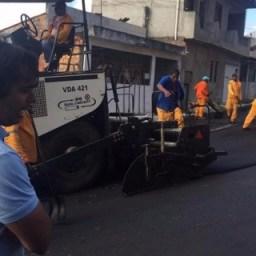 Prefeitura de Candeias inicia recuperação asfáltica no centro da cidade