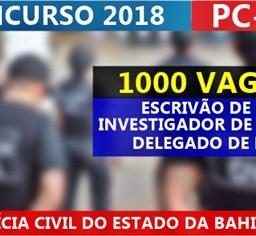 Concurso Polícia Civil BA (PC BA): Última semana para inscrições! Até R$ 11,3 mil!