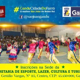Prefeitura de Gandu inicia inscrições para concursos tradicionais do São João e vendedores ambulantes.