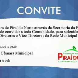 Convite: Posse dos novos diretores da rede municipal de ensino de Piraí do Norte