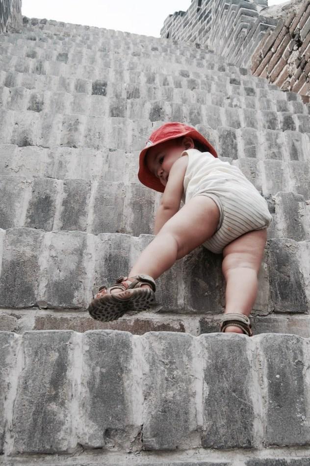 muraille de chine avec des enfants