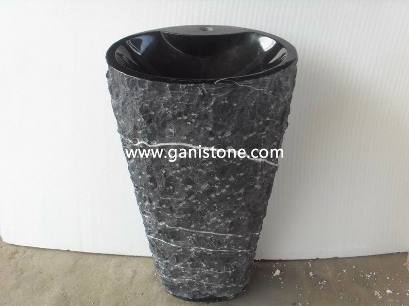 Black Marble Rough Pedestal Sink