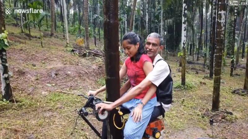 インドの農家のおじさんが発明した木を登る電気自転車を発明したようです。