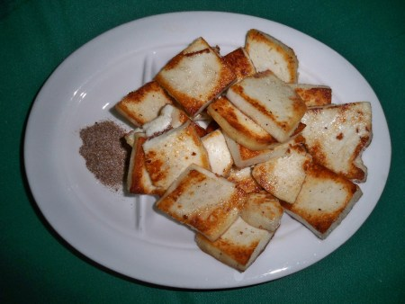 Rubing grilled goat's cheese